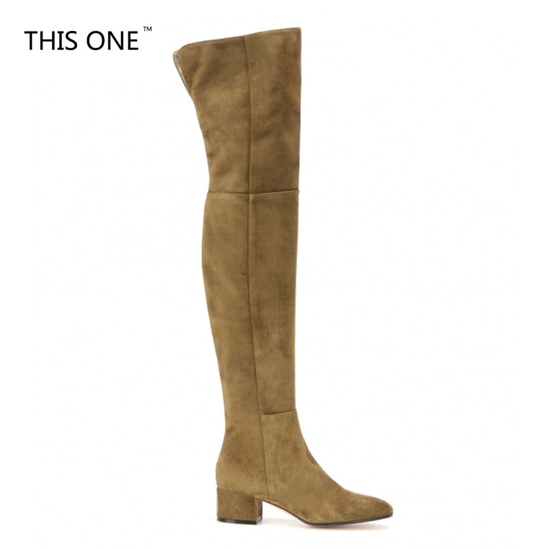 9a83163b1706 THISONE New Arrive Superstar Over Knee Boots Women Fashion Winter Boots  Woman Shoes Autumn Zip Thick