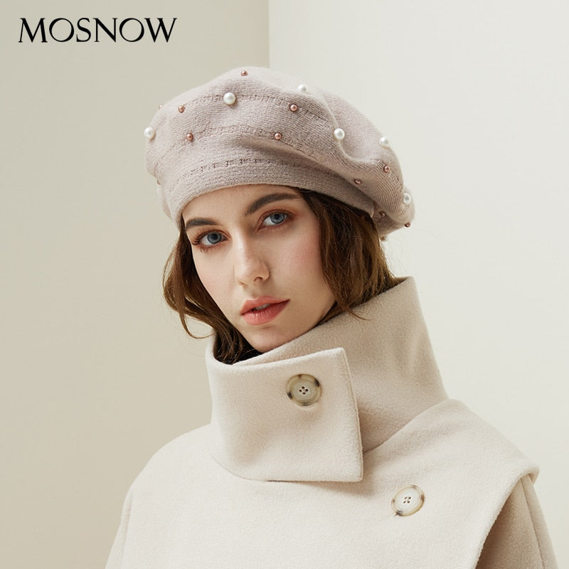 3052d821e8f Women Berets Pearl Decoration Hat Female Rabbit Hair knitted Caps 2018 New  Brand Winter Beret Lady