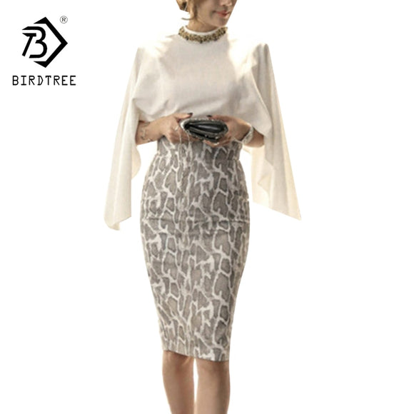Chiffon Tops and Skirt 2 Piece Set Cape Poncho Shawl Design Women Work Wear White Chiffon Shirt + Package Hip Skirt Suit S7N203A