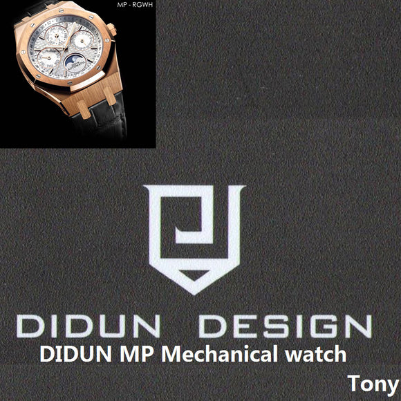 DIDUN watch Men Top Brand Luxury Mechanical Automatic Rose gold Watch Military Business Watch Moonphase Leather strap Wristwatch