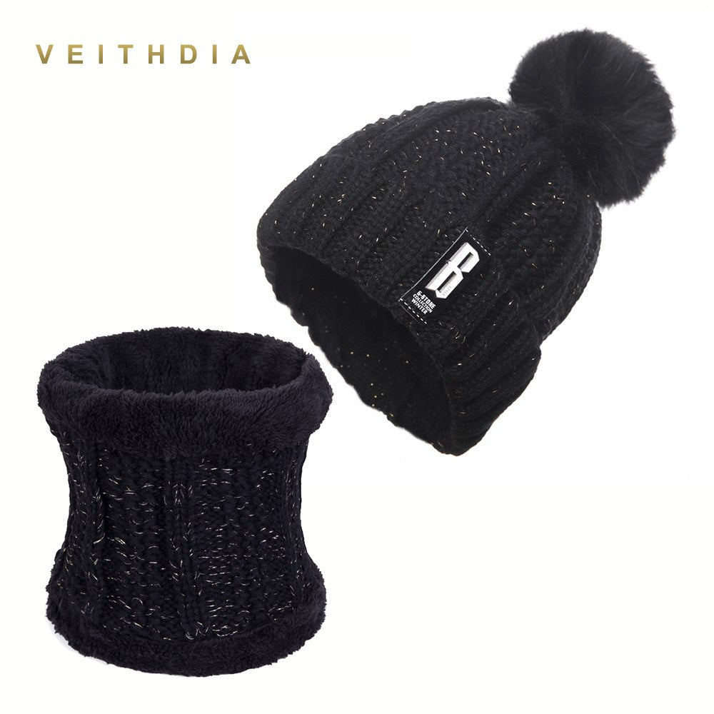 b35ba54defa ... VEITHDIA 2018 New Pom Poms Winter Hat for Women Fashion Solid Warm Hats  Knitted Beanies Cap ...