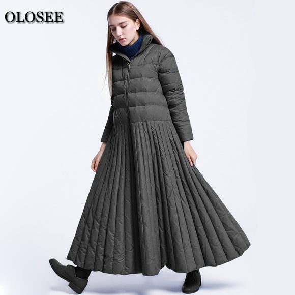 2018 White Duck Down Coat Women Plus Size Pleated Skirt Down Coat Female Maxi Jacket
