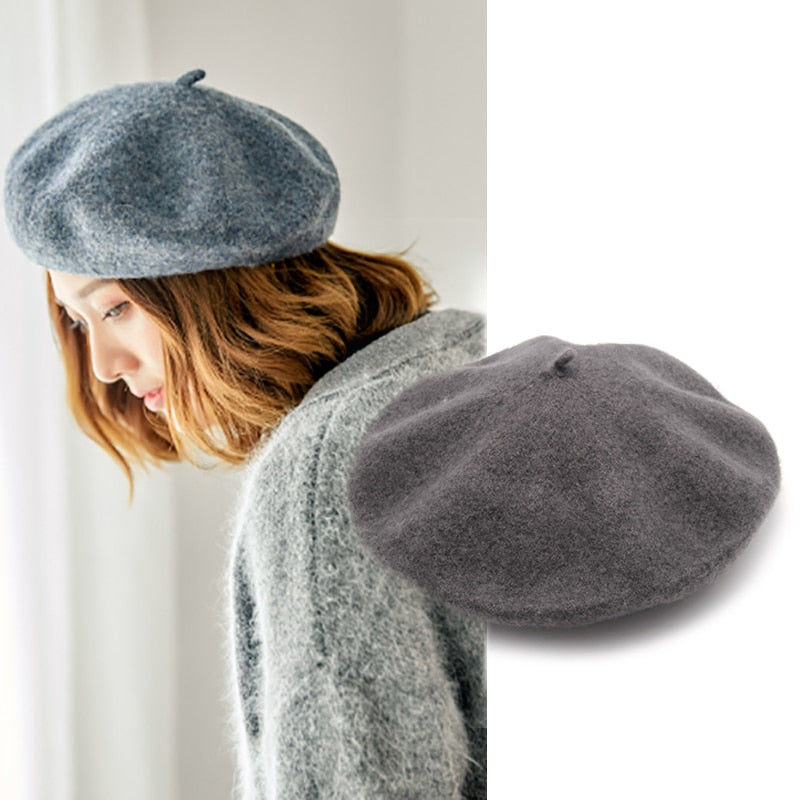 Female French Beret Hat Winter Hats for Women Wool Beret Cap Red Girls Hat  Womens Autumn 6888666d3ef8