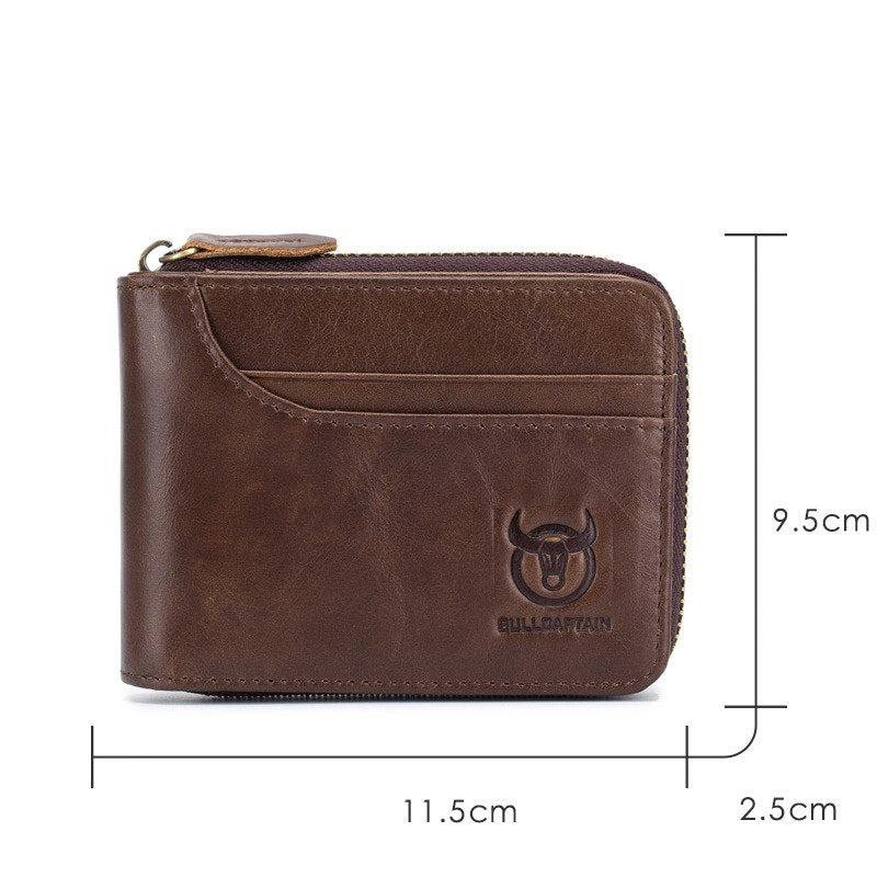 e49d63995dcaf BUllCaptain Genuine Leather Men Wallets Short Coin Purse Small Retro Wallet  Cowhide Leather Card Holder Pocket