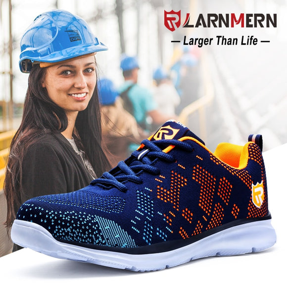 LARNMERN Safety Shoes Women Steel Toe Working Safety Protection Sneaker Shoes For Women Breathable Lightweight Anti-piercing