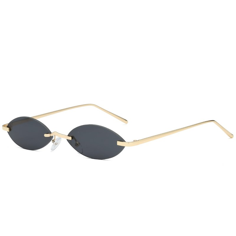 afe2a5bb95 Small Oval Sunglasses Men Women Retro Metal Frame Vintage Rimless Bran –  Zodeys