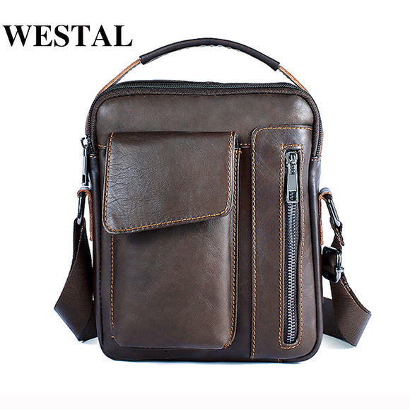 WESTAL Messenger Bag Men's Genuine Leather Shoulder bag Male Casual Oil Leather Small Flap man Crossbody Bags for Men Handbags