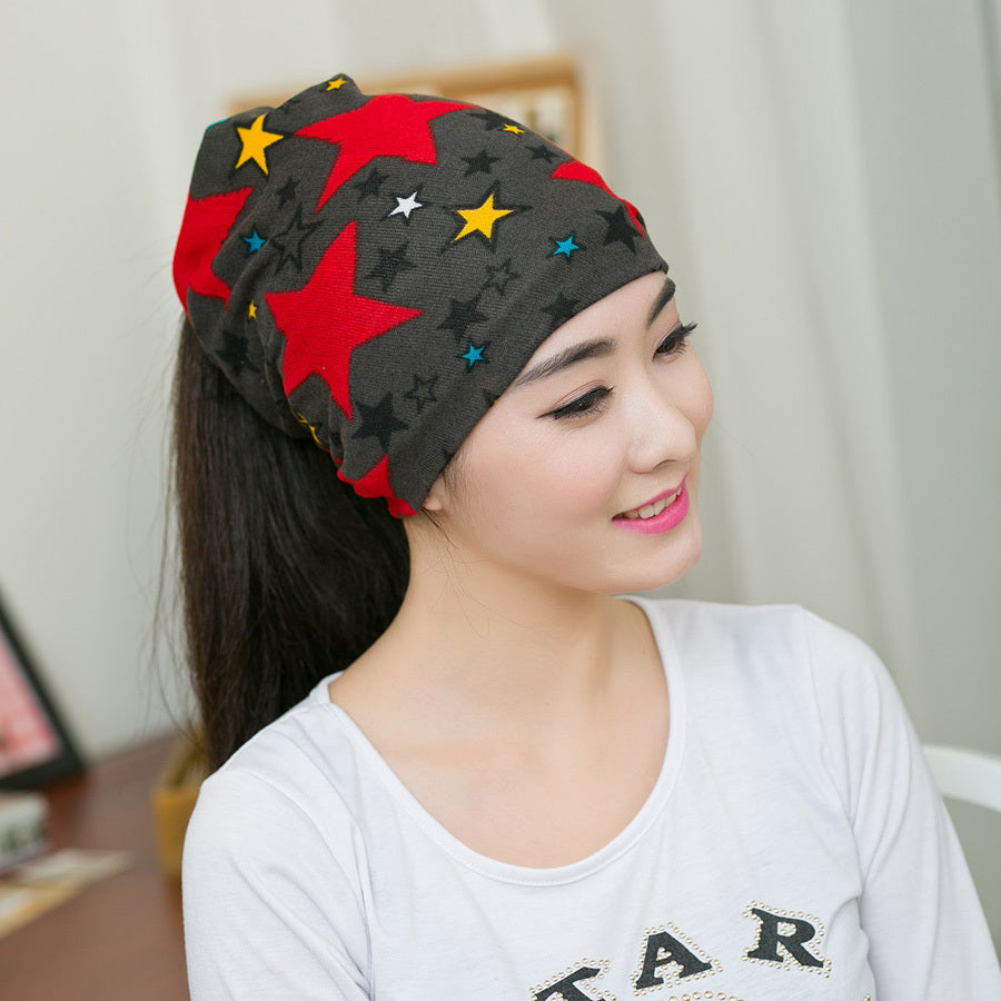 Fashion Women Hat Fall Winter Hats Casual Star Beanie Girls Caps Warm Hats  Ear Protection Wool 41526d119f7c