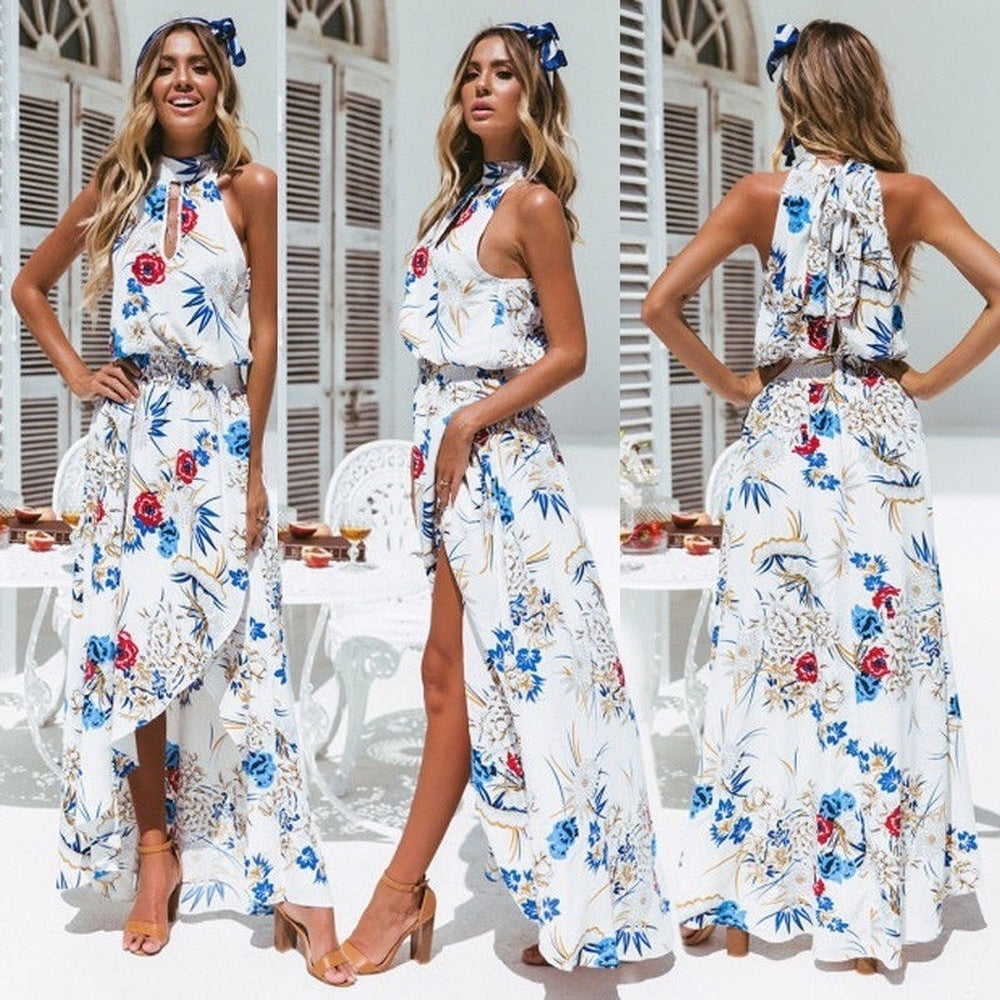 d53b6acdfdf64 ZOGAA Boho Womens long dress Holiday Halter Off Shoulder Empire Floral Maxi  Ladies Summer Beach Party