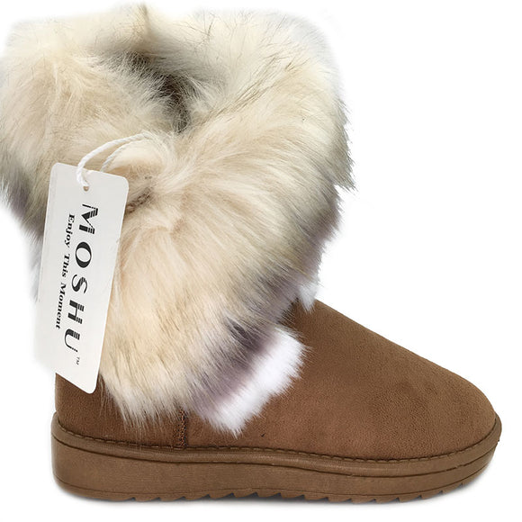 Women Winter Ankle Boots Snow Female Fox Fur Wedges Australia Boots Ladies Botas-Boots-Zodeys-Black-5-Zodeys