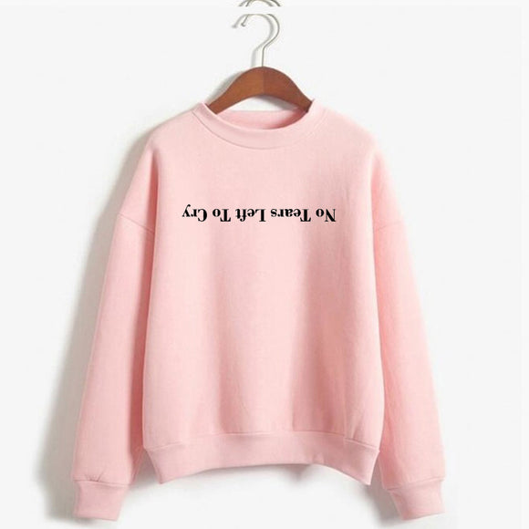 Ariana Grande Sweatshirt No Tears Left To Cry Hoodie Women Print Harajuku God Is A Woman Sweatshirts Pullover Cewneck Warm Tops-Sweaters-Zodeys-black-L-Zodeys