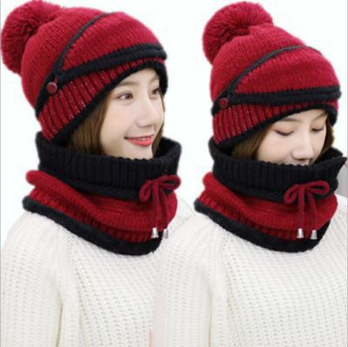 2018 Winter Knit Warm Bib Mask One Thicken Ski Bike Cap Cold Winter Earmuffs  Wrapping Hat cad983097c5b