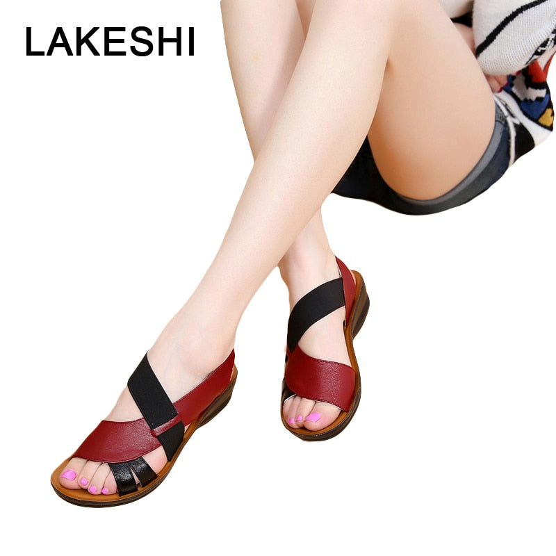 e37c4505f17b LAKESHI Summer Women Sandals Leather Slip-On Women Shoes Fashion Soft  Bottom Mother Sandals Wedge