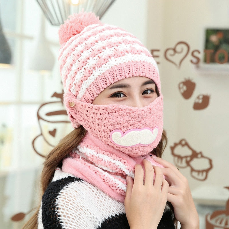 09d44c1753a Women Winter Hat Knitted Hats Scarf Set Beanie Female Neck Warmer autumn  winter Beanies Hats Mask