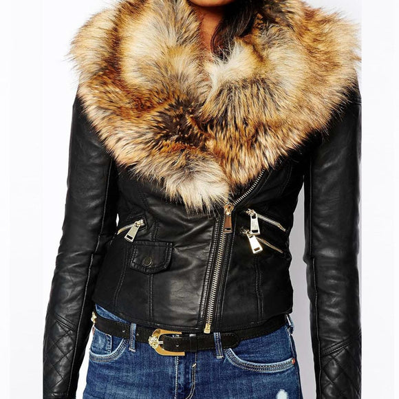 Hot PU Leather Jacket Coat with Faux Fox Fur Collar Women Autumn Coat Female Slim Short Outerwear Overcoat Plus Size 3XL Q1660