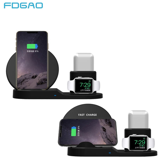Fdgao Qi Wireless Charger for Apple watch 1 2 3 iPhone XS Max XR X 8 Plus AirPods Fast Charging Stand For Samsung S9 S8 Note 9 8