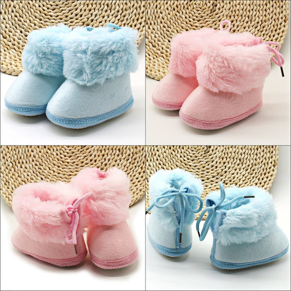 Baby Infants Fashion Solid Color Plush Fur Fleece Boots Toddler Snowflake Prewalker Boots Winter Warm Crib Shoes Soft Baby Shoes