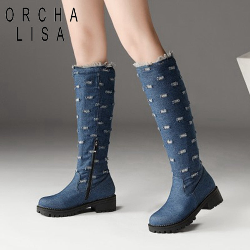 e0615afd1f84 ORCHA LISA Plus Size 44 Jeans Boots demin knee boots Woman low thick heel Warm  winter