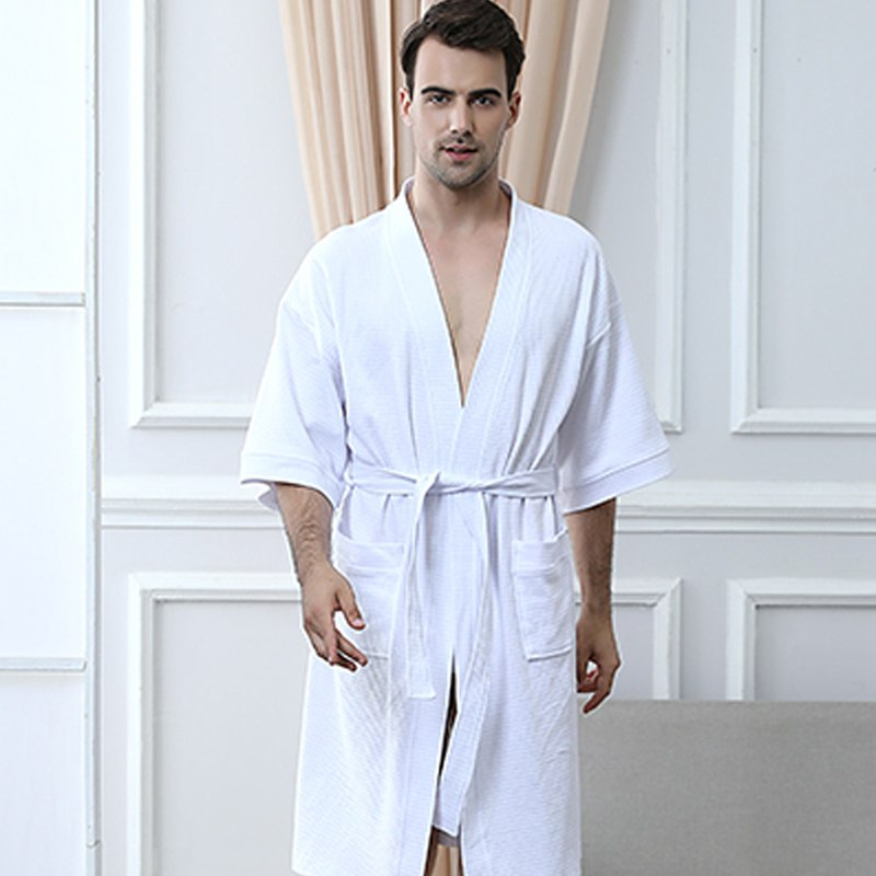 206d40aaae 100% Cotton Plus Size Waffle Kimono Bath Robe Men Towel Suck Sweat Knee  Length Bathrobe Male Summer Sexy Dressing Gown for Women