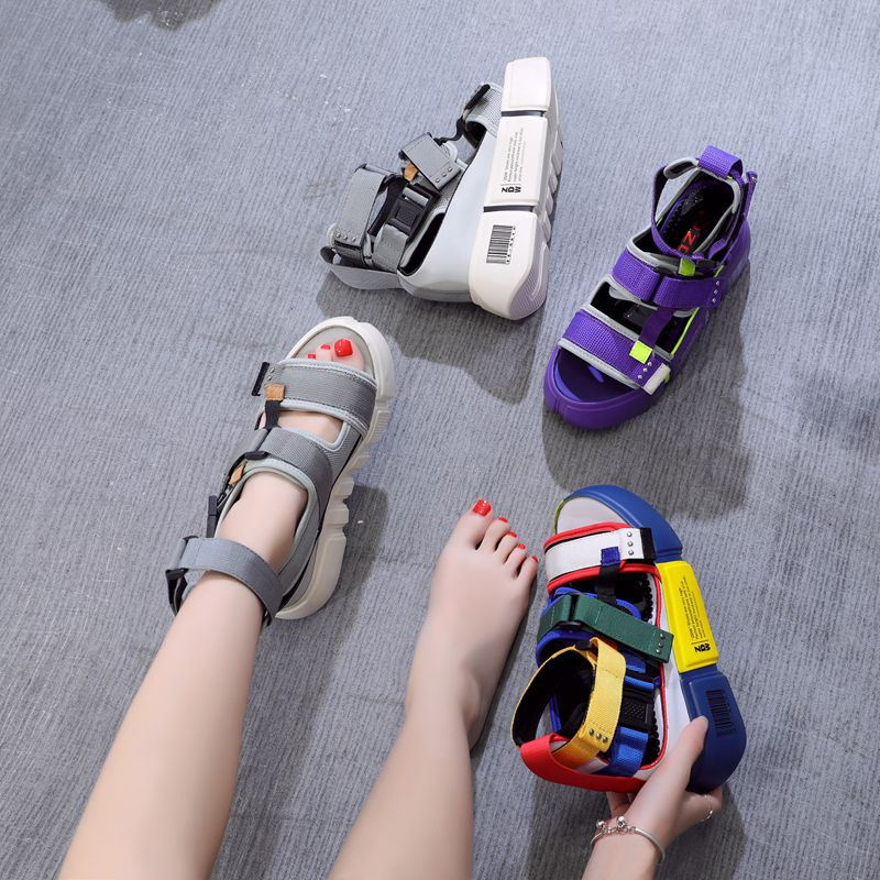 80b36ff6a9a0 SWYIVY platform sandals for woman 2019 new blue wedge high heel chunky sandals  shoes summer female