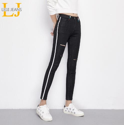Jeans Woman 2018 Spring Embroidery Side Stripe Hole 40-120KG Skinny Pencil Pants Casual Women Denim Jeans Plus Size 4XL 5XL 6XL