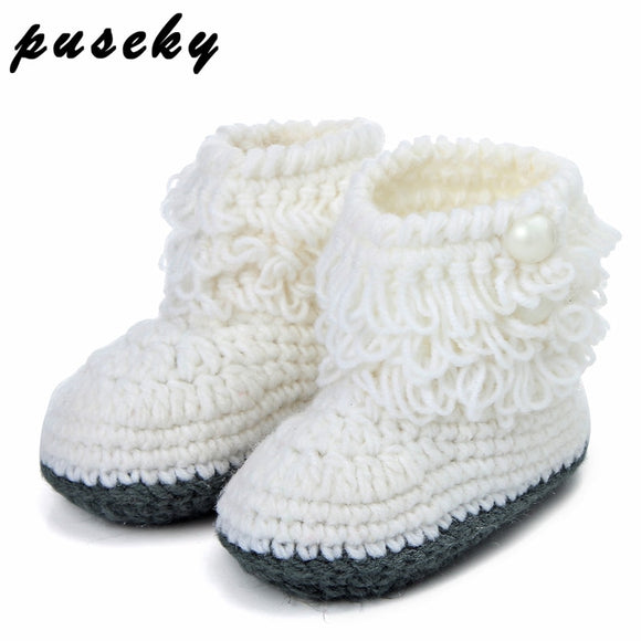 Puseky Woolen Baby Shoes Infants Crochet Knit Fleece Warm Boots Toddler Girl Boy Wool Snow Crib Shoes Winter Booties