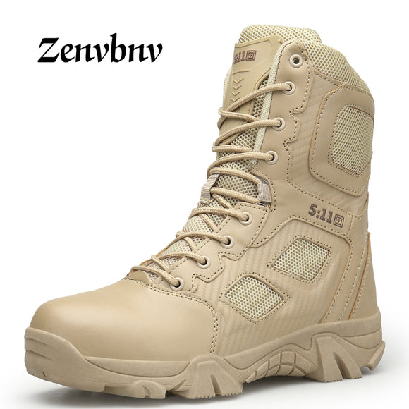ZENVBNV Men Desert Tactical Military Boots Mens Work Safty Shoes SWAT Army Boot Militares Tacticos Zapatos Ankle Combat Boots-Boots-Zodeys-black-10-Zodeys