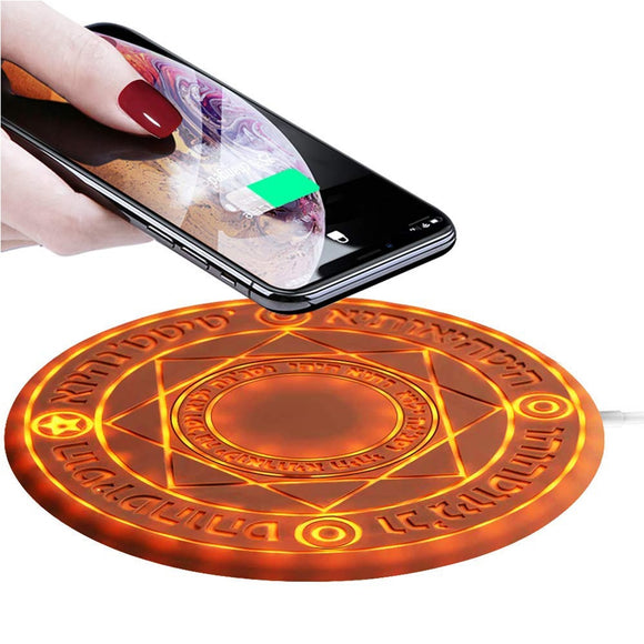 2018 New Magic Circle Wireless Charger Universal Qi Wireless Fast Charger Change Stand Pad With LED Light10W/7.5W/5W