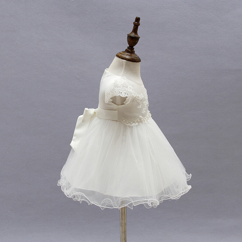 2018 Baby Girl Dress With Hat White 1 Year Old Birthday Party Formal Vestido Infantil Baptism