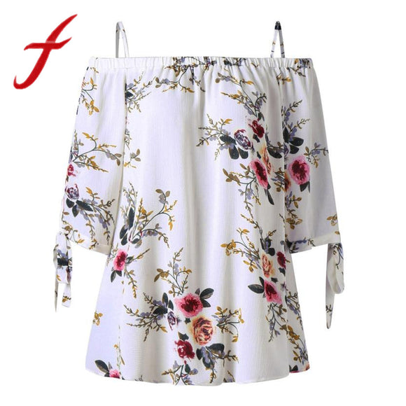 Feitong Fashion Womens Blouses Plus Size Floral Print Strappy Cold Shoulder Off Shoulder Blouse Casual Tops blusas feminina 2018