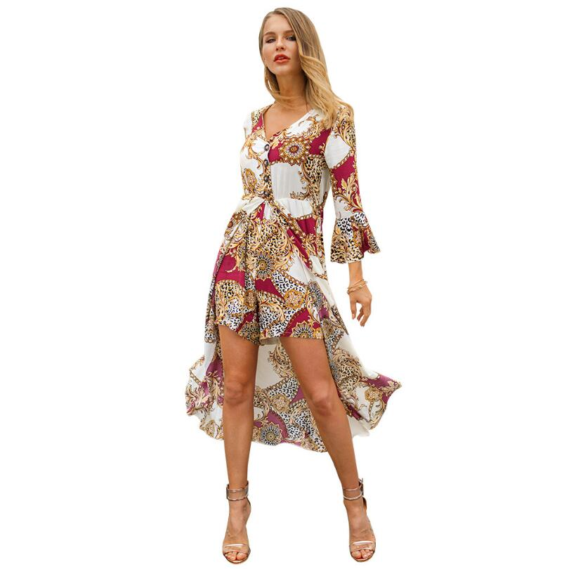 4ad9681935af Sexy V-Neck Button Print Jumpsuit Women Romper Fashion Half-Flare Fleeve Playsuit  Casual