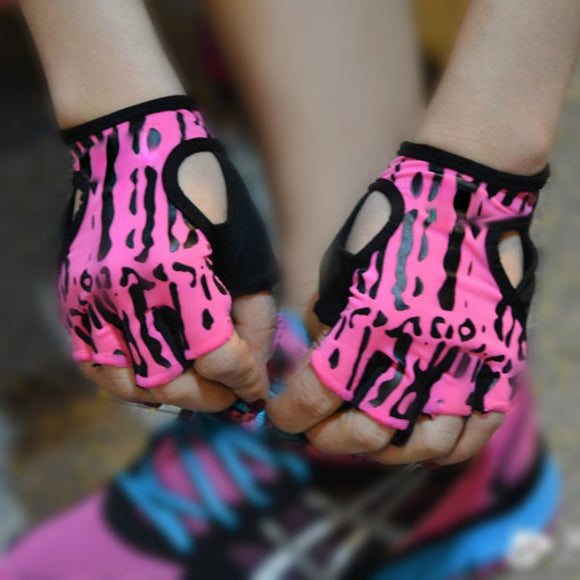 Super Leapard Print Women Bike Cycling Gloves Half Finger GEL PINK White Girl MTB Bicycle Gym gloves hunting luvas ciclismo