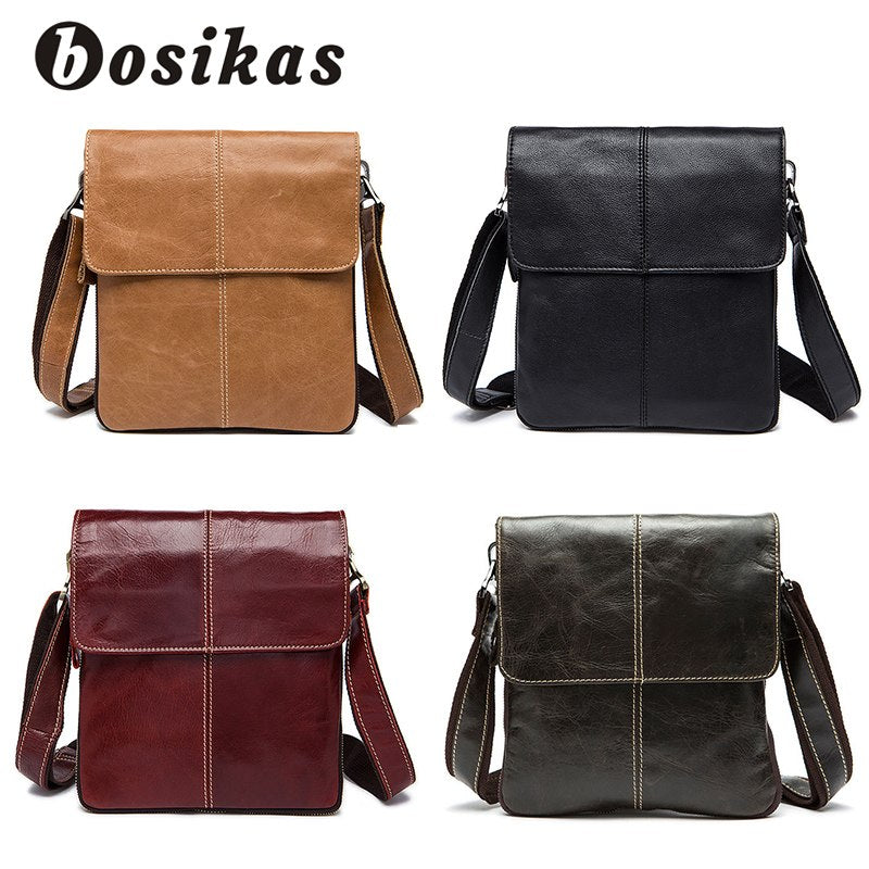 74512b2ad7 BOSIKAS Genuine Leather Men Bag Cow Leather Crossbody Bags Shoulder Men  Messenger Bags Small Casual Designer