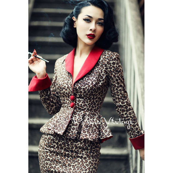 Le Palais Vintage elegant retro Sexy Leopard contrast color waist coat pencil skirt suits/sets tight slip
