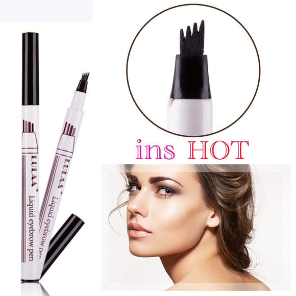 Brand New Eyebrow Pencil Waterproof Fork Tip Eyebrow Tattoo Pen 4 Head Fine Sketch Liquid Eyebrow Enhancer Dye Tint Pen-Makeup-Zodeys-Black-Zodeys