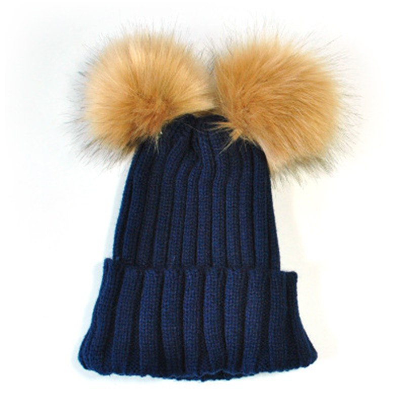 0aec534a4dc ... Kids Two Faux Fur Pom Pom Hat Women Winter Woolen Beanie Cap Girls Boys  Cute Knitted ...