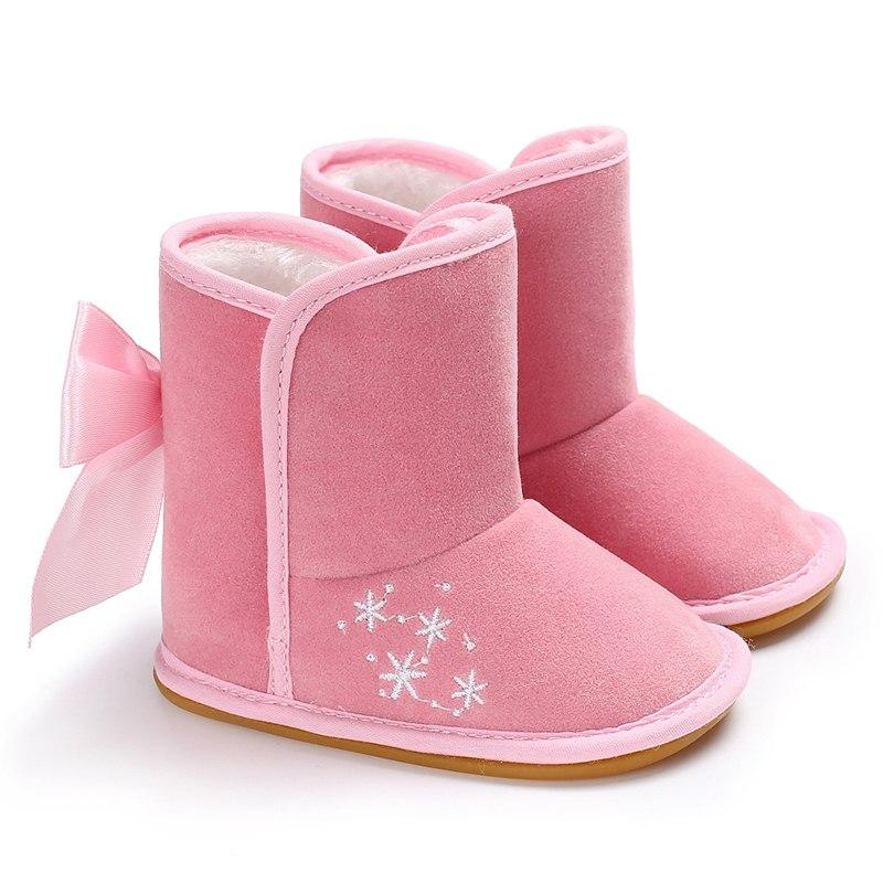 188c01de13db Winter Toddler Baby Boy Girl Butterfly Knot Warm Snow Boots Infant Sof