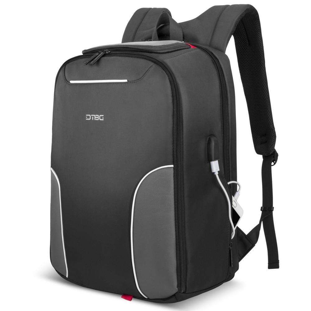 6c7d8b124c 17.3 Inch Laptop Smart Backpack With USB Charge Port Black Gray Patchw