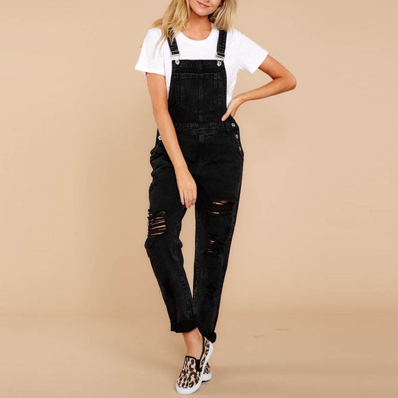 Women black Denim Bib Pants Hole Overalls Jeans Straps Demin Trousers plus size Rompers Casual loose Hole Pencil Ripped F80