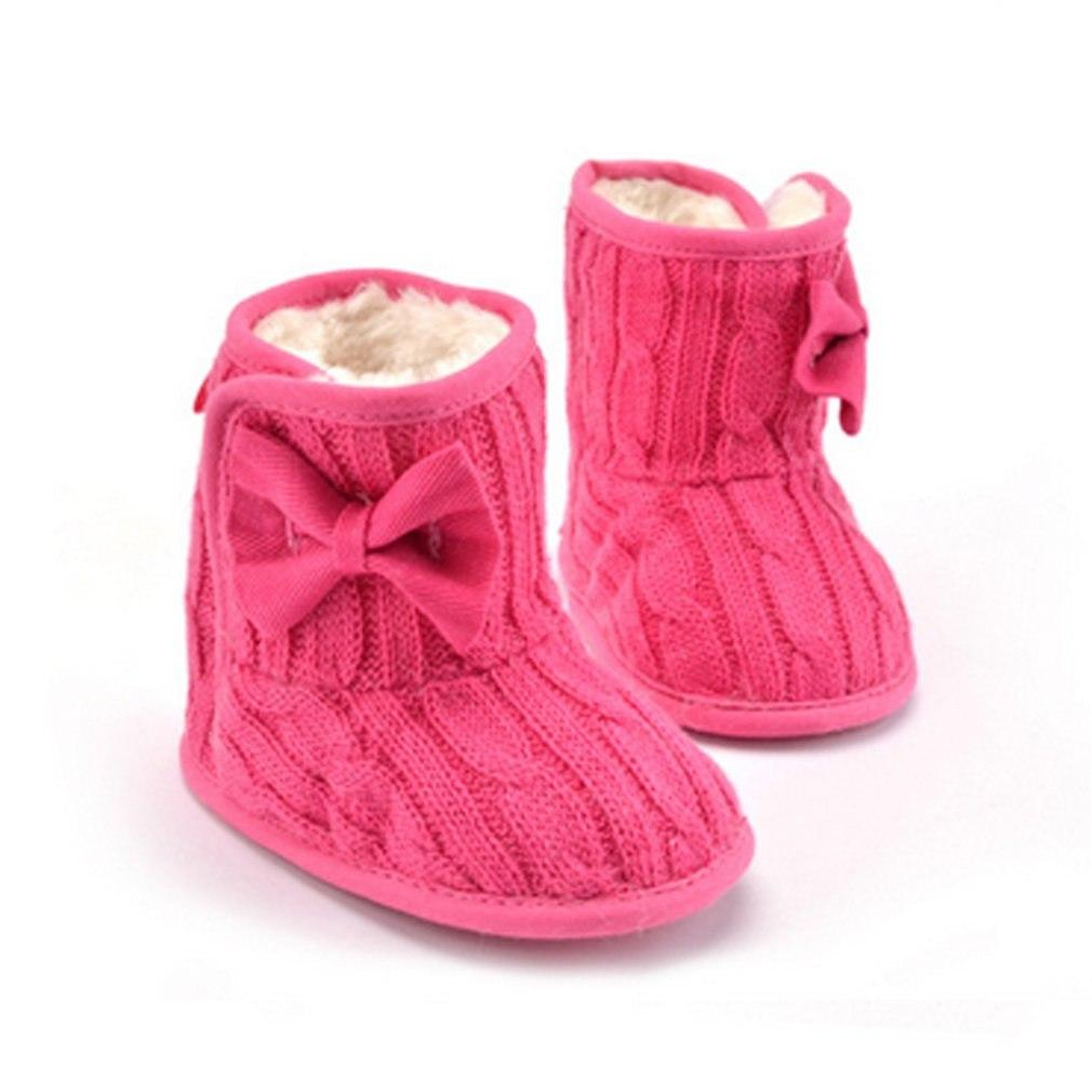 f2d537706b33 Outad Winter Warm Thicken Baby Girls Shoes Soft Sole Prewalker Knit Bowknot  Faux Fleece Snow Boot