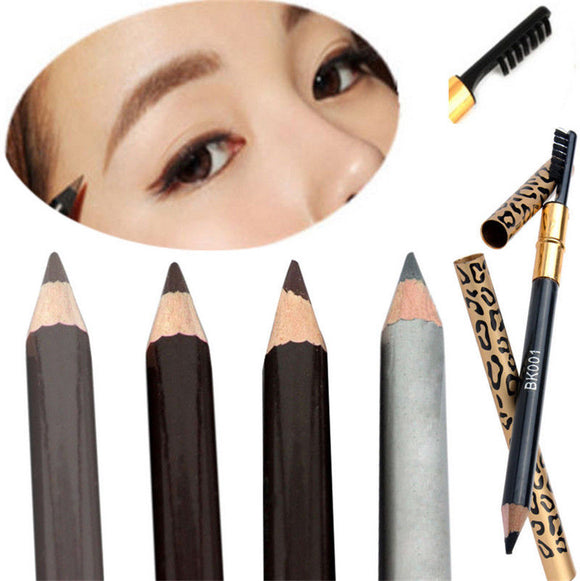 Make Up Leopard Long lasting Brown Eyeliner Eyebrow Pencil With Brush Waterproof