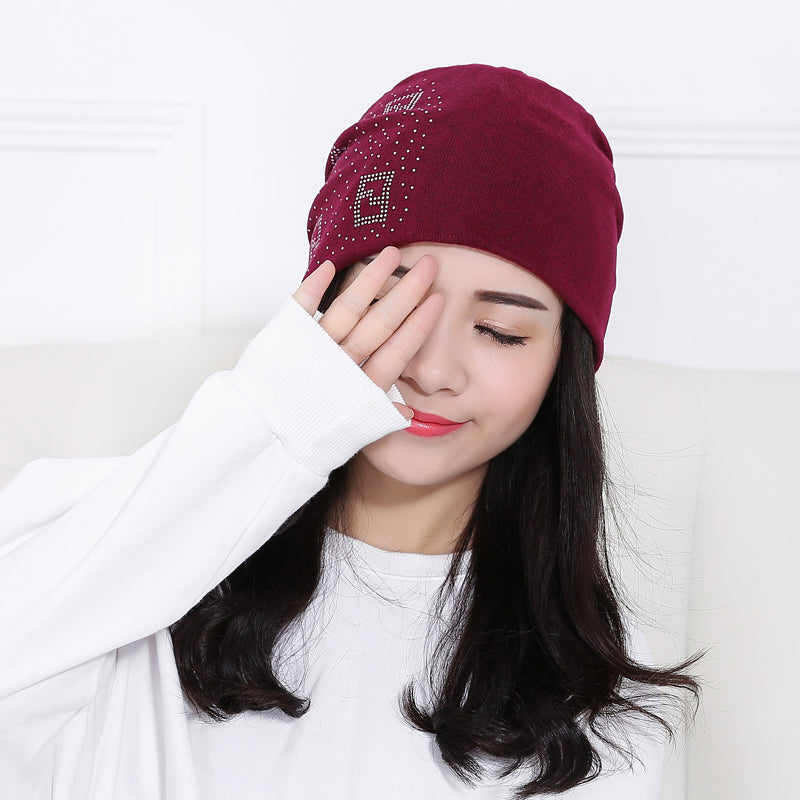 f4178a65f04 2018 Beanie Hats For Women Beanies Autumn And Winter Brand Knitted Hat  Turban Diamond Skullies Hip