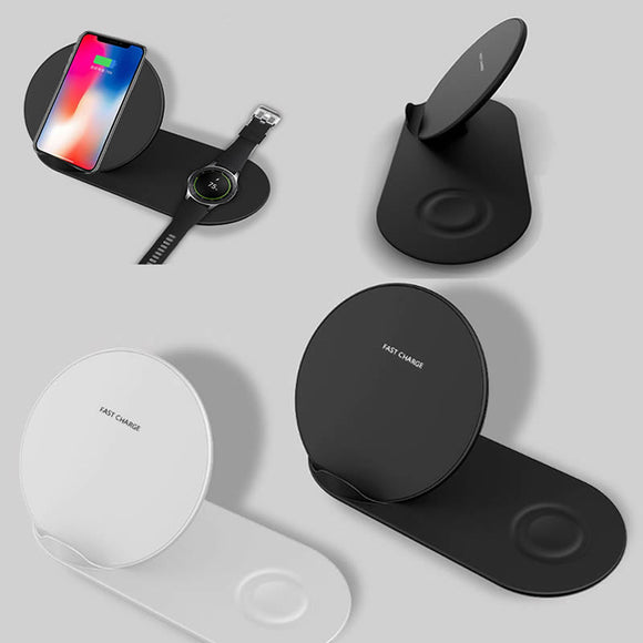 2in1 QI Wireless Charger Stand for iPhone X XR XS MAX 8 Samsung S9 S8 Note 9 8 Galaxy Watch Gear S3 S2 Huawei Mate RS Mate20