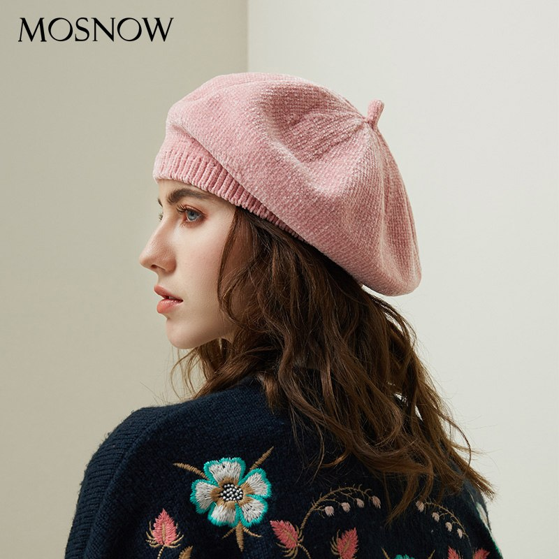02e3bab0da3 2018 New Stylish Berets Chenille Material Winter Berets For Women Warm  Knitted Hat Female Autumn Painter