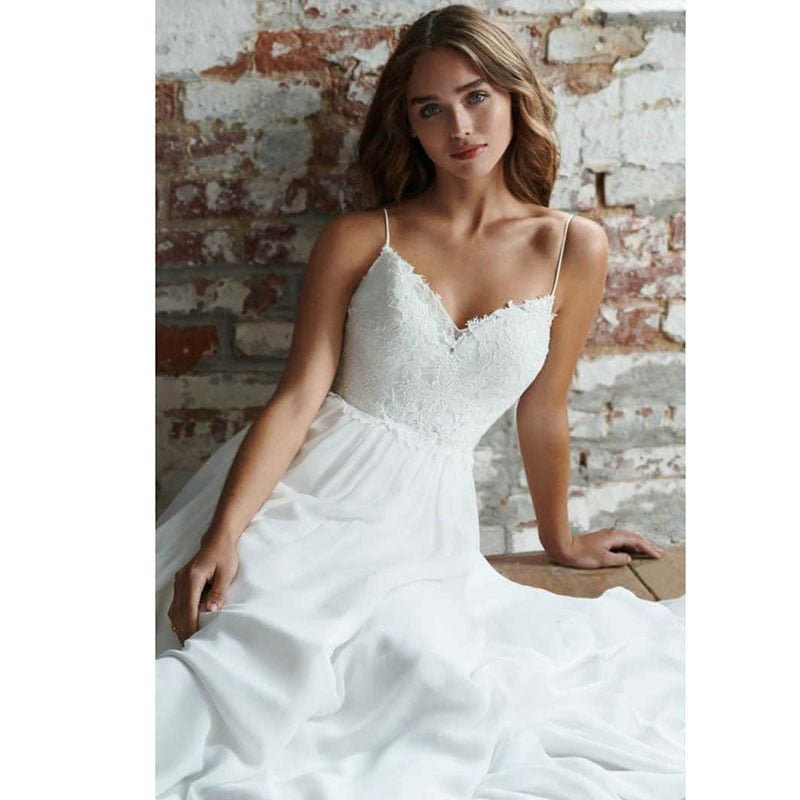 0754ac01203e LORIE Boho Wedding Dress Spaghetti Strap A Line Chiffon Long Backless Beach  Wedding Gown Appliques Lace. Hover to zoom ...