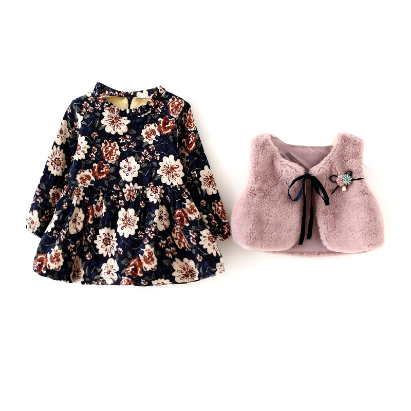 dafedc9e2 Fall Winter Wear New Baby Girls Clothes Long-sleeved Floral Plus Velve