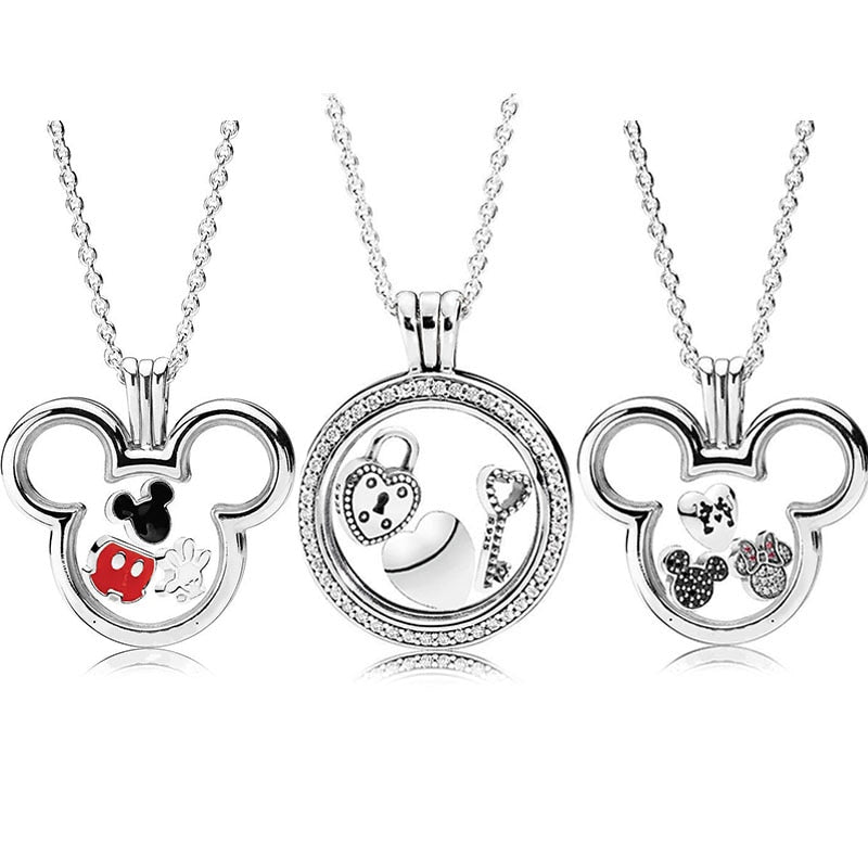 0ce5df9d3 925 Sterling Silver Original Mickey And Minne Pandora Floating Locket  Necklace With Petite Charm Glass For
