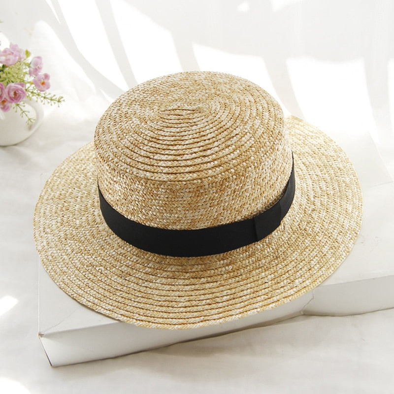 c02516fd4dd 2018 Hot Summer Women s Boater Beach Hat Female Casual Panama Hat Lady  Brand Classic Flat Bowknot