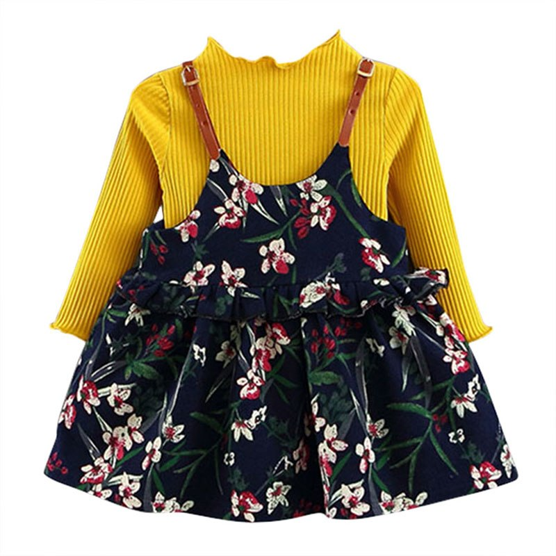 9f8e08d2c Spring Autumn Cute Baby 2Pcs Sweater + Floral Harness 2 Colors Green A