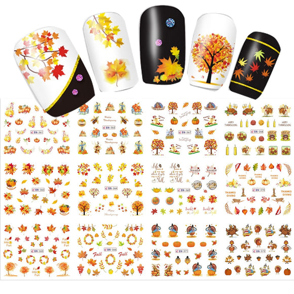12 Designs in 1 Set Water Transfer Sticker Thanks Giving Theme Maple Leaf Design for Nail Art Decorations  Full Warp SABN361-372
